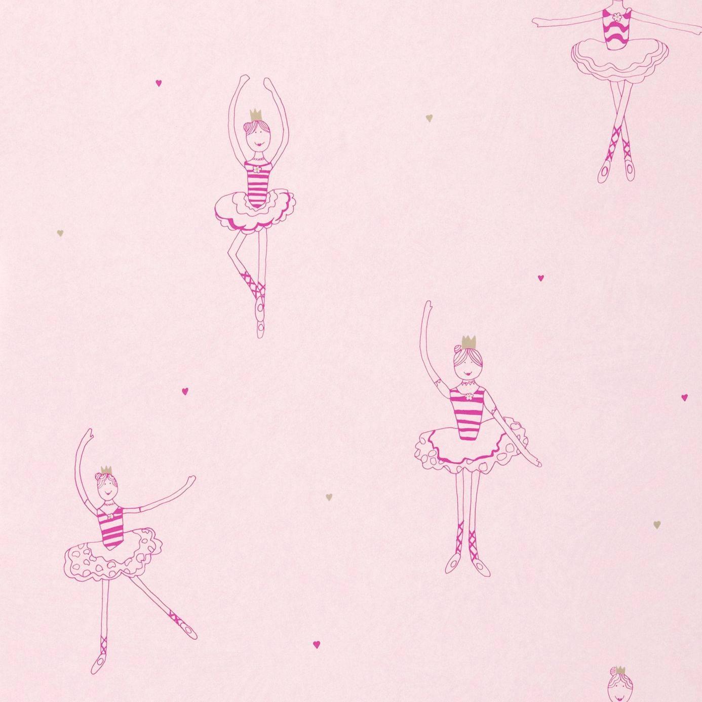 Polly Pirouette Wallpaper Fuchsia Gold Soft Pink 70528