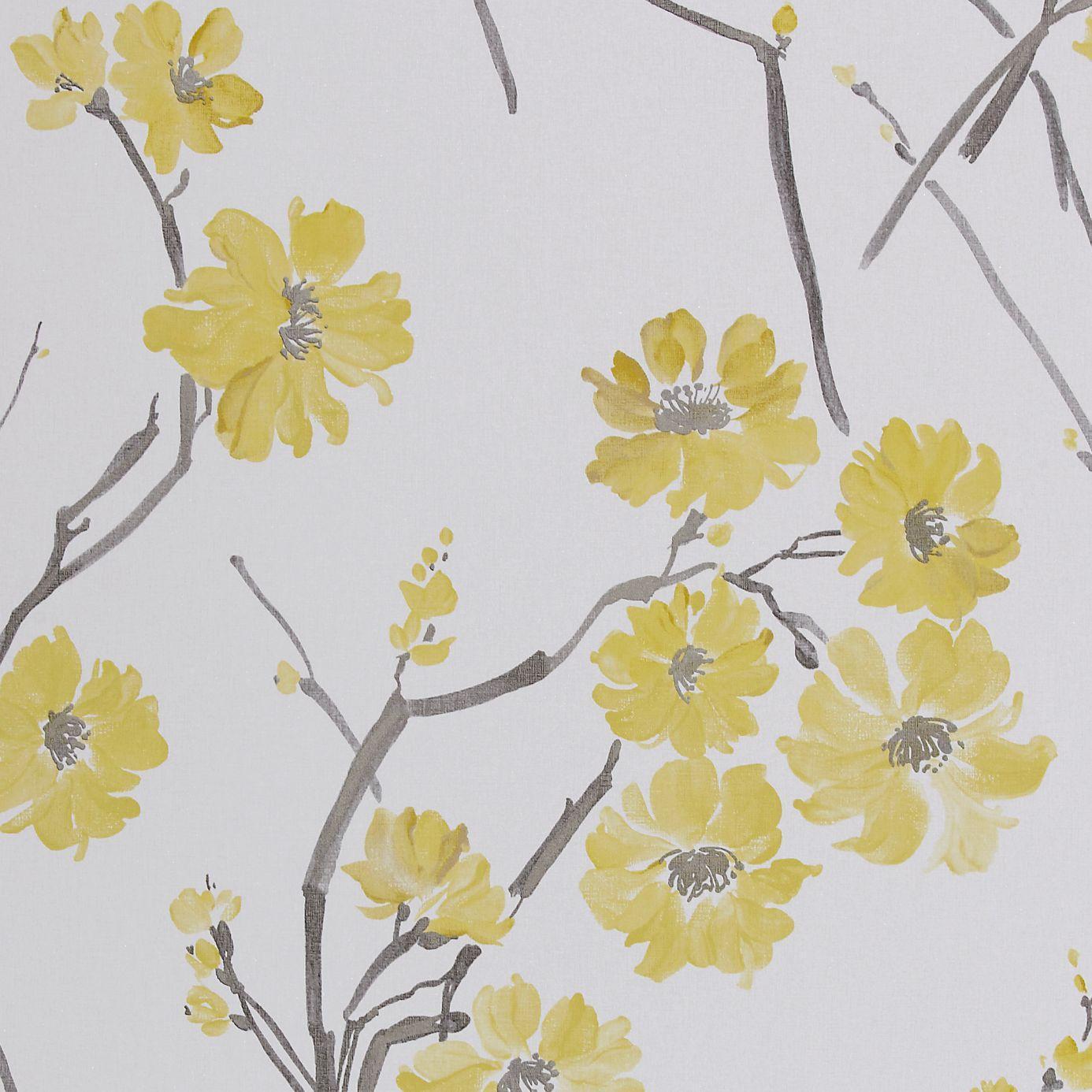 Mustard Design Wallpaper : Floris wallpaper mustard slate neutral
