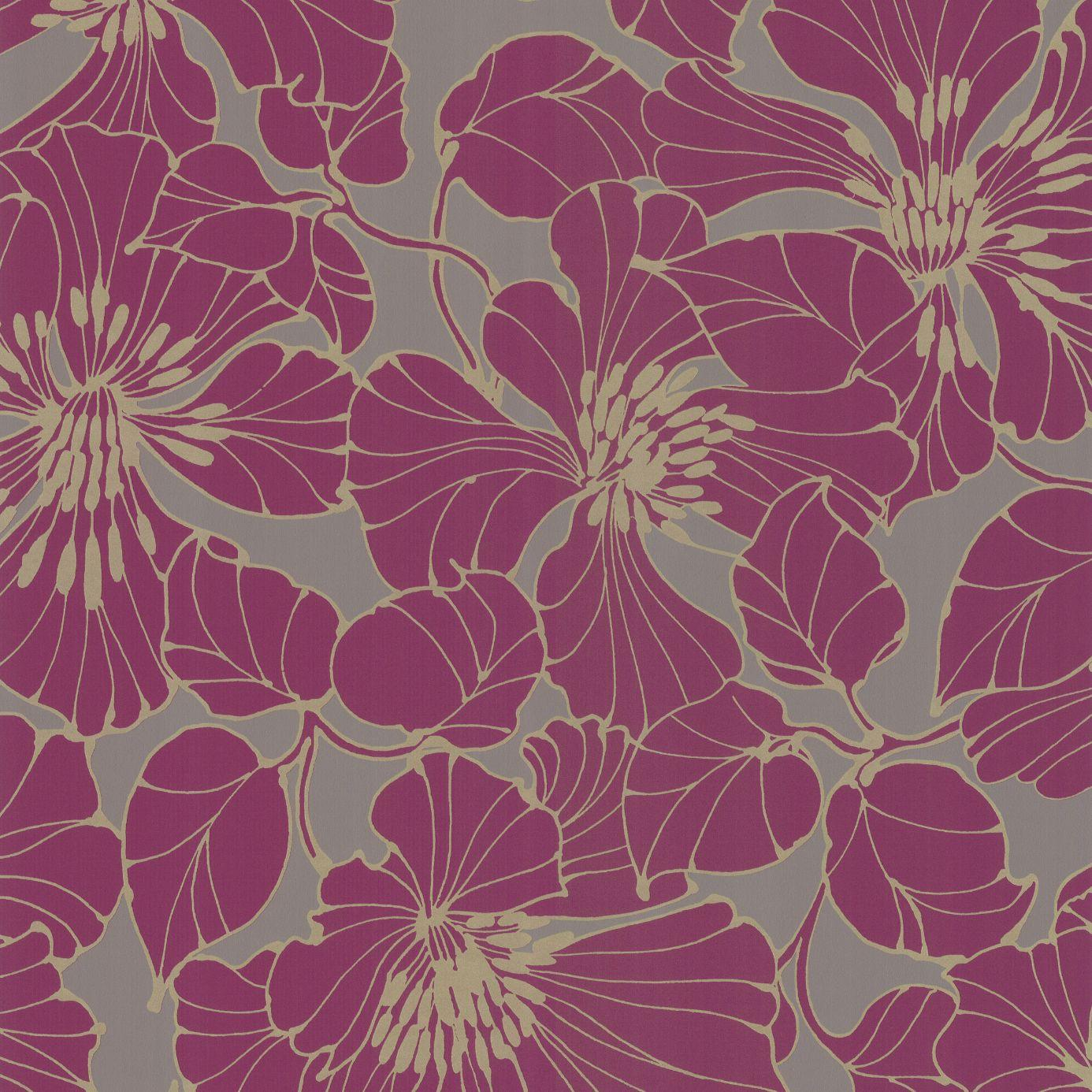 Passion Wallpaper Plum Grey Gold 30733 Harlequin