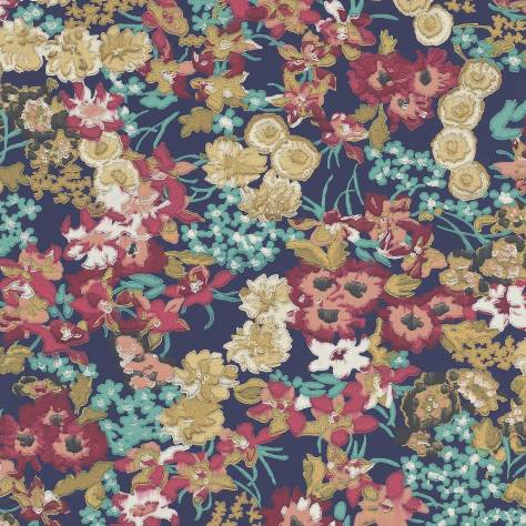 Harlequin Jardin Boheme Wallpapers Florica Wallpaper - Indigo/Azalea - 110659